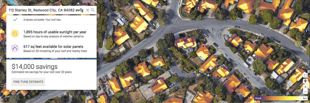 พบกับ Project Sunroof จาก Google ตรวจสอบปริมาณแสงอาทิตย์
