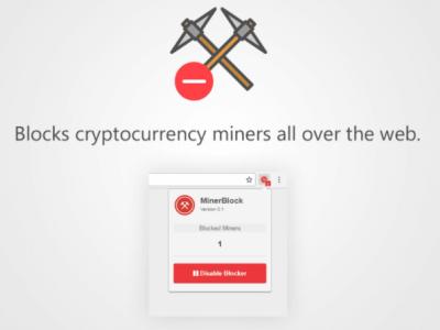minerBlock ส่วนเสริม Chrome หยุดเว็บไซต์ไม่ให้ยืม CPU ขุดเงินดิจิทัล